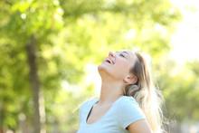Happy Teenage Girl Laughing Breathing Fresh Air