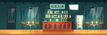 Empty City Bar Or Pub At Evening Cartoon Vector Retro Interior. Stools Row Near Bar Counter, Shelves With Alcohol Bottles, Glowing Signboard, Cool Beverages In Fridge, Tables And Chairs Illustration