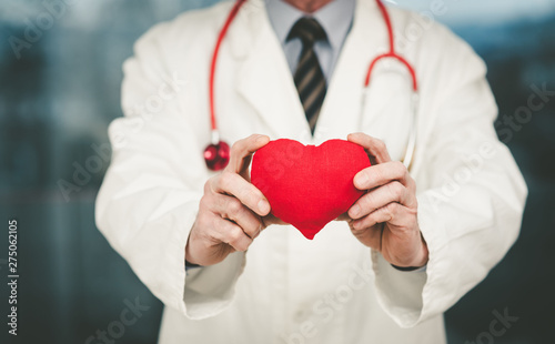 Doctor showing red heart