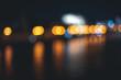 Leinwandbild Motiv Retro toned blurred street lights, urban abstract background
