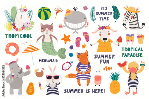 Deurstickers Illustraties Big summer set with cute animals, quotes, fruits, drinks, pool floats. Isolated objects on white background. Hand drawn vector illustration. Scandinavian style flat design. Concept for children print.
