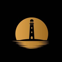 Lighthouse With Sea And Moon B...
