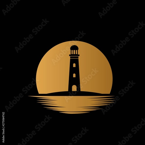 Lighthouse with sea and moon background illustration logo design