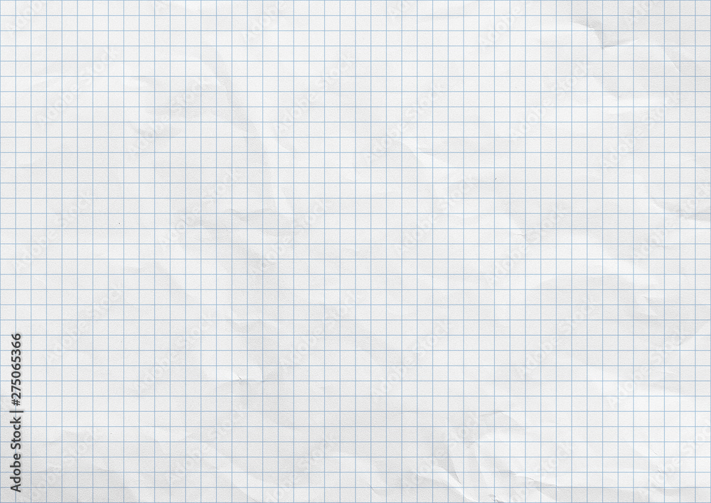 Fototapety, obrazy: White crumpled paper. Blue graph lines