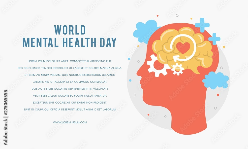 Fototapeta World Mental Health Day. Silhouette of a man's head with brain, gear, love. Mental Growth. Clear your Mind. Positive Thinking. Vector - Illustration