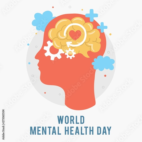 World Mental Health Day. Silhouette of a man's head with brain, gear, love. Mental Growth. Clear your Mind. Positive Thinking. Vector - Illustration Wall mural