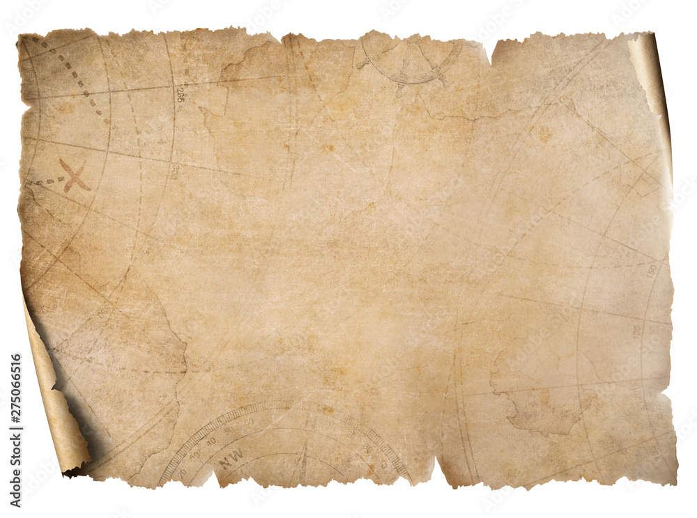 Fototapety, obrazy: Vintage treasure map parchment isolated on white
