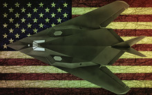 Military Stealth Aircraft On American Flag Background. American Flag.