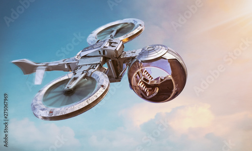 Self-driving autonomous passenger air taxi drone flying in the sunset sky Canvas Print