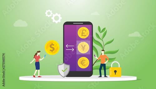 Fototapeta currency exchange money concept with mobile smartphone apps with options business technology investment - vector obraz