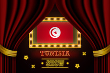 Show Time Board For Performance, Cinema, Entertainment, Roulette, Poker Of Tunisia Country Event. Shining Light Bulbs Vintage Of Tunisia Country Name