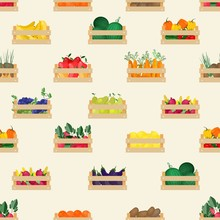 Seamless Pattern With Natural Organic Fruits And Vegetables In Wooden Boxes On White Background. Backdrop With Food Crops Collected In Crates. Flat Cartoon Colorful Vector Illustration For Wallpaper.
