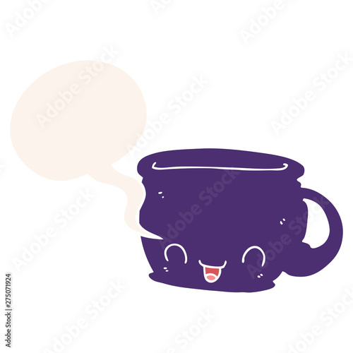 Fototapeta cartoon cup of coffee and speech bubble in retro style obraz na płótnie