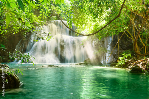 Wall Murals Waterfalls Beautiful scenic of Huaymaekamin Waterfall in Kanchanaburi, Thailand.