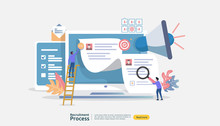 Job Hiring, Online Recruitment Concept With People Character. Agency Interview. Select Resume Process. Template For Web Landing Page, Banner, Presentation, Social Media. Vector Illustration