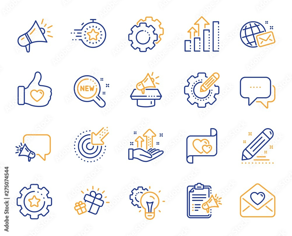 Fototapeta Brand social project line icons. Business strategy, Megaphone and Representative. Influence campaign, social media marketing, brand ambassador icons. Innovation, gift, like sign. Vector