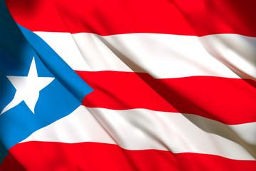 3d rendering of Puerto Rico flag