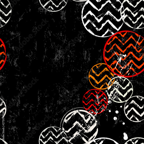 seamless background pattern, with circles, zigzag, strokes and splashes, black and white