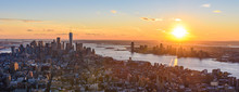 View From Observation Deck On Empire State Building At Sunset - Lower Manhatten Downtown, New York City, USA