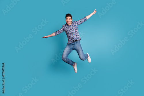 Full body length size photo of crazy humorous handsome carefree careless dreamy Wallpaper Mural