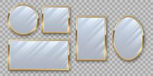 Golden Makeup Mirrors Mockup Vector Set
