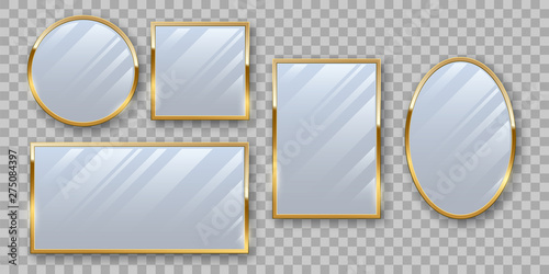 Fotografía Golden makeup mirrors mockup vector set