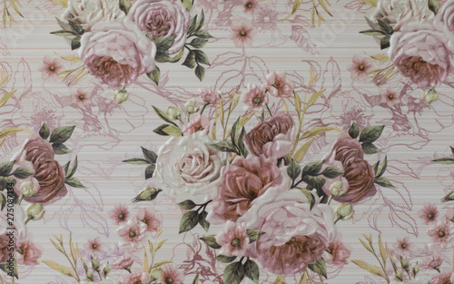 ceramic tile with flower pattern for the kitchen