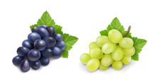 Red And White Table Grapes. Wine Grapes Realistic Bunch Vector Icon Set