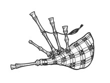 Bagpipes Instrument Sketch Eng...