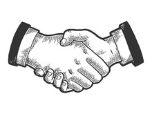 Businessmen Handshake Sketch Engraving Vector Illustration. Scratch Board Style Imitation. Black And White Hand Drawn Image.