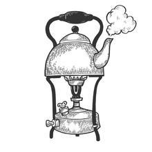 Old Boiling Kettle Pot On Prim...