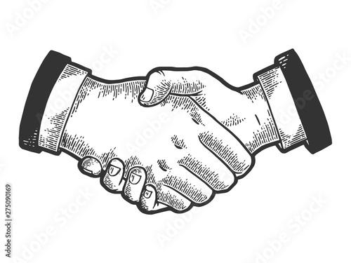 Valokuva  Businessmen handshake sketch engraving vector illustration