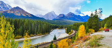 Panorama View Morant's Curve Railway In Canadian Rockies In Autumn ,Banff National Park, Canada
