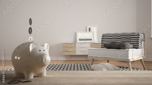 Fotomural  Wooden table top or shelf with white piggy bank with coins, modern white and woo