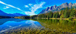 Reflection of Mount Fitzwilliam on Yellowhead Lake in the Canadian Rockies, British Columbia, Canada