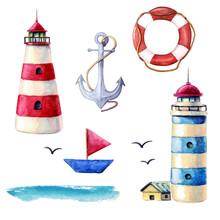 Watercolor Nautical Elements C...