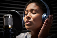 Female Vocalist Wearing Headph...