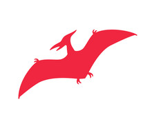 Pterodactyl Vector Silhouette. Pteranodon Dinosaur. Pterosaur Red Silhouette Isolated