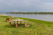 picnic table on the bank of the Irtysh River