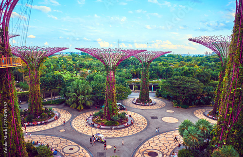 Photo sur Aluminium Piscine Gardens by the Bay with Supertree in Singapore