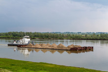 Sand Barge On The River