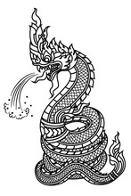 Line Draw Tattoo Serpent Or Naga Spraying Water