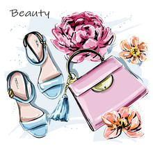 Hand Drawn Cute Set With Stylish Accessories. Fashion Shoes, Pink Bag And Flowers. Sketch. Vector Illustration.