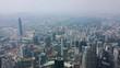 kuala lumpur city downtown famous towers sunny day aerial panorama 4k malaysia