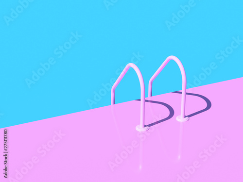 Photo  Grab bars ladder in the blue swimming pool. 3d render