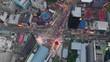 evening time illuminated kuala lumpur city downtown traffic street crossroad aerial topdown panorama 4k malaysia