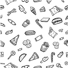 Vector Seamless Hand Draw Sketch Pattern, Junk Food Icon Doodle Burger, Pizza, French Fries, Potato Chip, Hot Dog, Ice Cream Cone, For Background, Wallpaper, Curtain, Etc