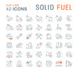 Set Vector Line Icons of Solid Fuel