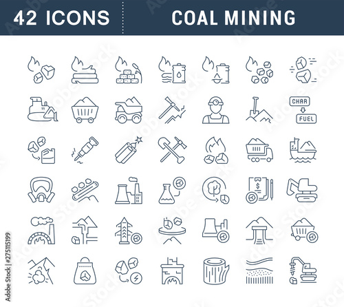 Fotomural Set Vector Line Icons of Coal Mining