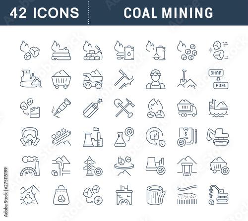Set Vector Line Icons of Coal Mining Fototapeta